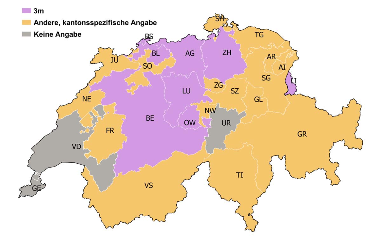 Mindestabstände der Erdwärmesonden zu Nachbar-Grundstückgrenzen. Quelle: BFE - EnergieSchweiz
